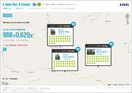 「1 box for 2 trees」植林マップ
